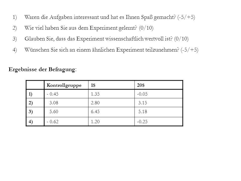 1)Waren die Aufgaben interessant und hat es Ihnen Spaß gemacht? (-5/+5) 2)Wie viel haben Sie aus dem Experiment gelernt? (0/10) 3)Glauben Sie, dass da