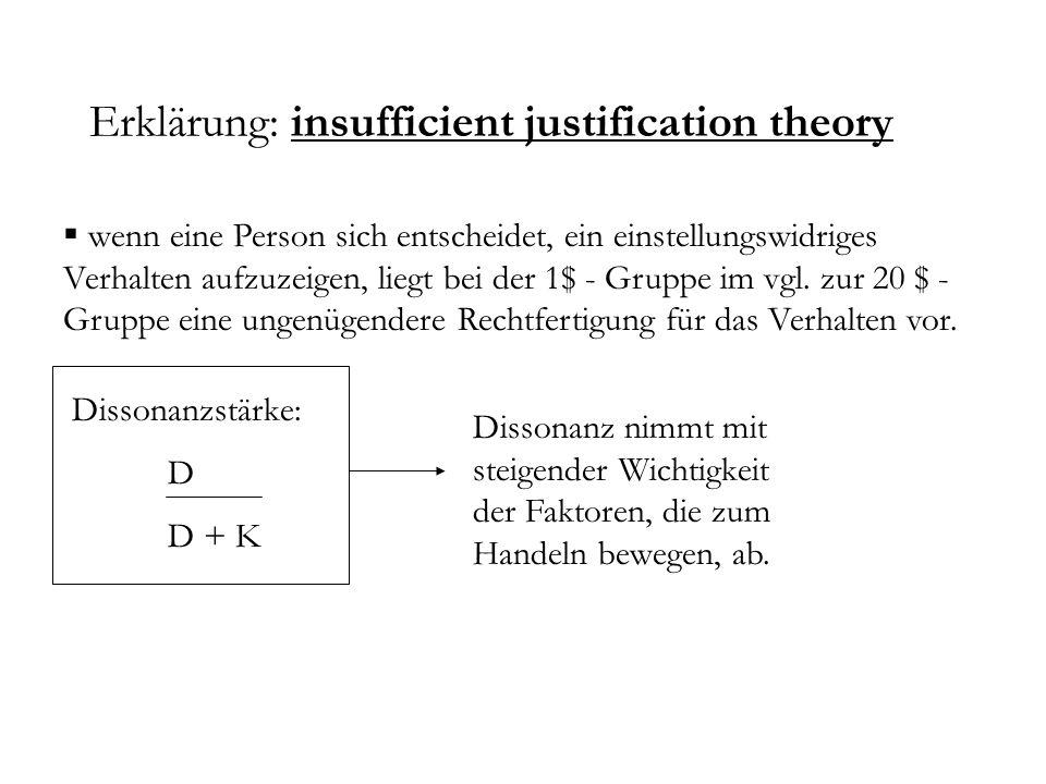 Erklärung: insufficient justification theory wenn eine Person sich entscheidet, ein einstellungswidriges Verhalten aufzuzeigen, liegt bei der 1$ - Gru