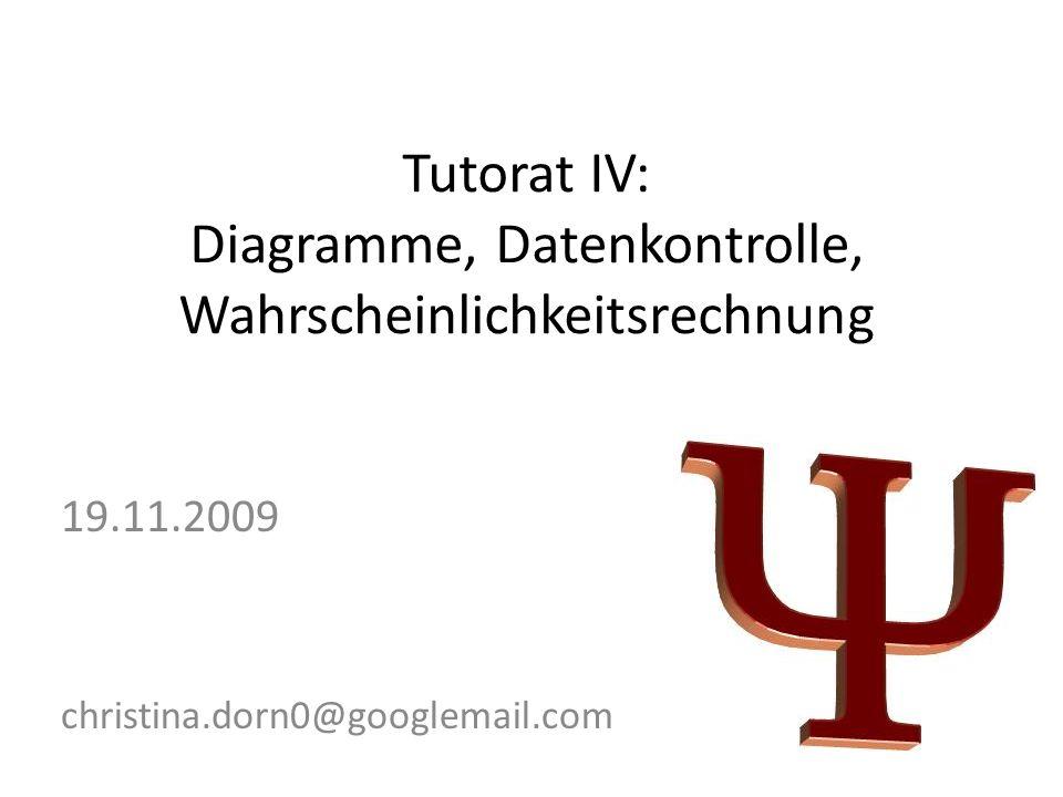 Tutorat IV: Diagramme, Datenkontrolle, Wahrscheinlichkeitsrechnung 19.11.2009 christina.dorn0@googlemail.com