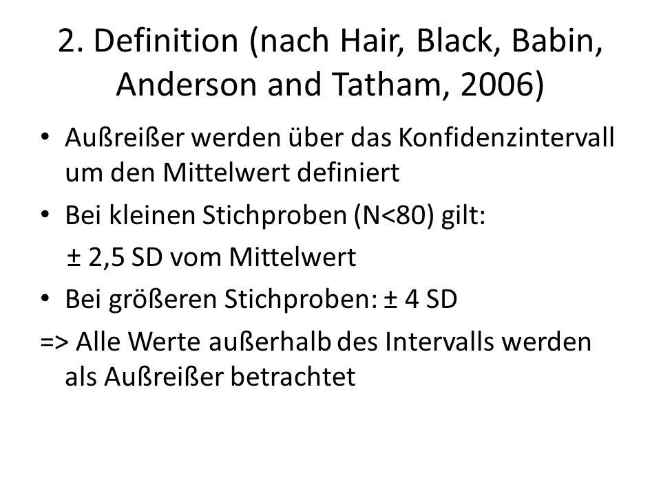 2. Definition (nach Hair, Black, Babin, Anderson and Tatham, 2006) Außreißer werden über das Konfidenzintervall um den Mittelwert definiert Bei kleine