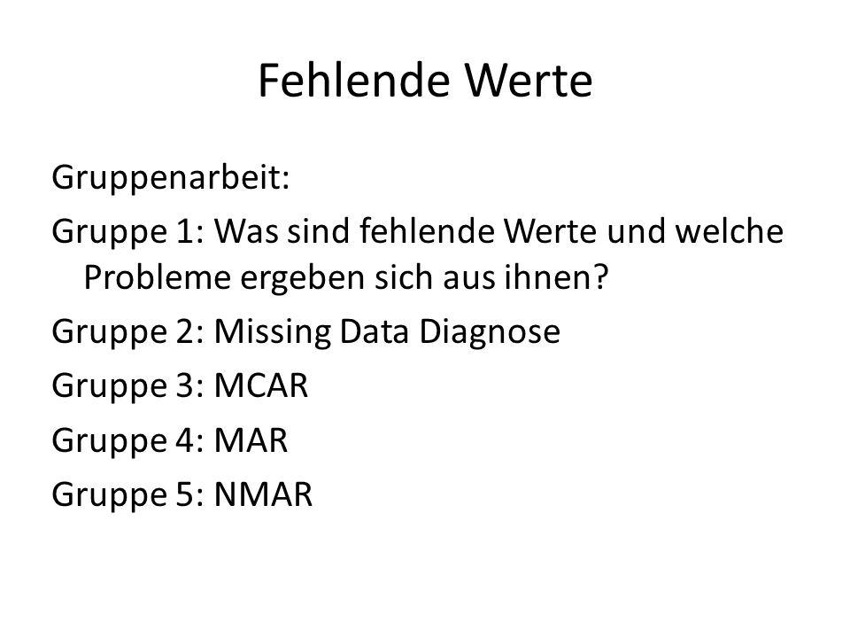 Fehlende Werte Gruppenarbeit: Gruppe 1: Was sind fehlende Werte und welche Probleme ergeben sich aus ihnen? Gruppe 2: Missing Data Diagnose Gruppe 3: