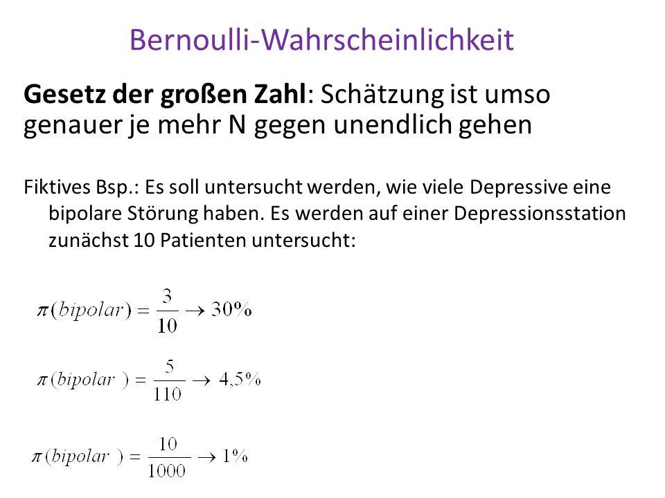Bernoulli-Wahrscheinlichkeit Gesetz der großen Zahl: Schätzung ist umso genauer je mehr N gegen unendlich gehen Fiktives Bsp.: Es soll untersucht werd