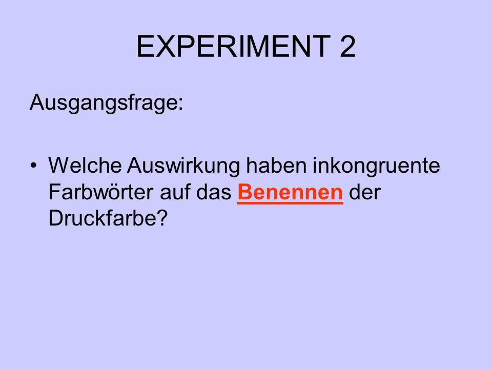 EXPERIMENT 2 Ausgangsfrage: Welche Auswirkung haben inkongruente Farbwörter auf das Benennen der Druckfarbe?