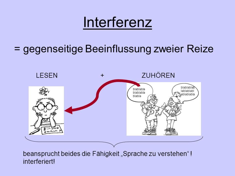 Interferenz = gegenseitige Beeinflussung zweier Reize LESEN + ZUHÖREN beansprucht beides die Fähigkeit Sprache zu verstehen .