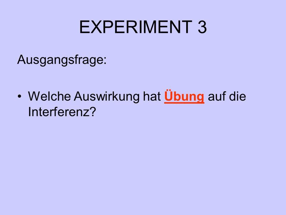 EXPERIMENT 3 Ausgangsfrage: Welche Auswirkung hat Übung auf die Interferenz?