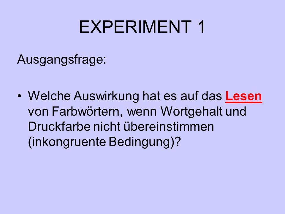 EXPERIMENT 1 Ausgangsfrage: Welche Auswirkung hat es auf das Lesen von Farbwörtern, wenn Wortgehalt und Druckfarbe nicht übereinstimmen (inkongruente Bedingung)?