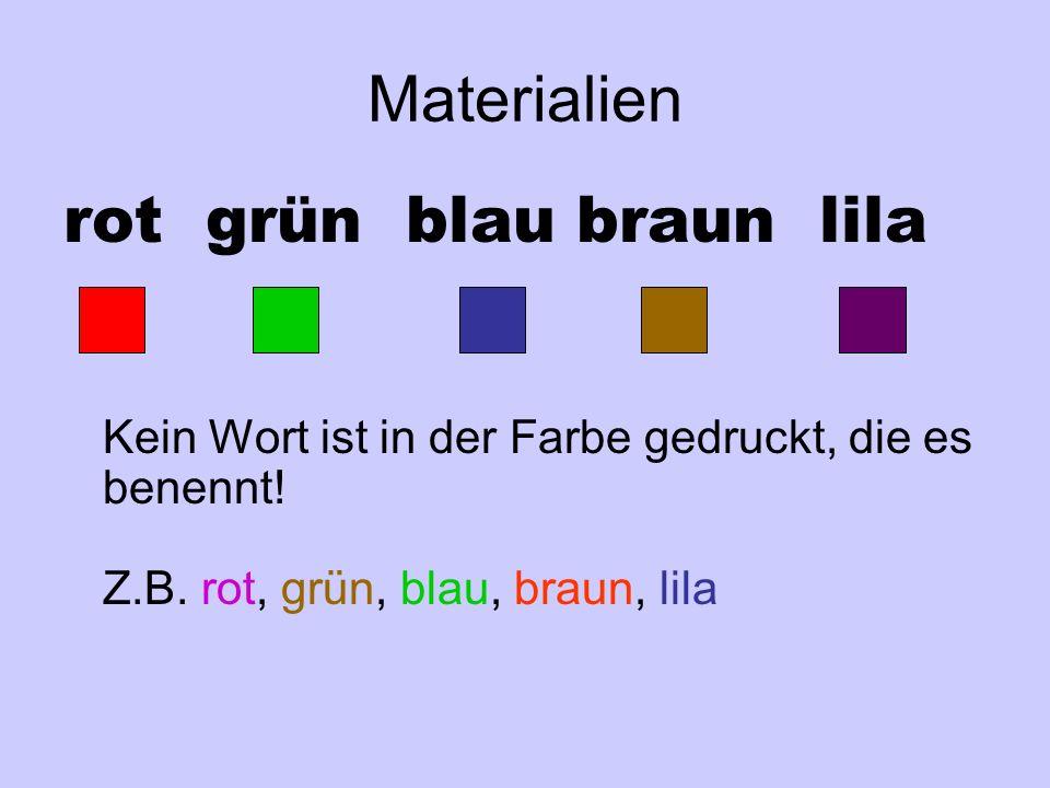 Materialien rot grün blau braun lila Kein Wort ist in der Farbe gedruckt, die es benennt.