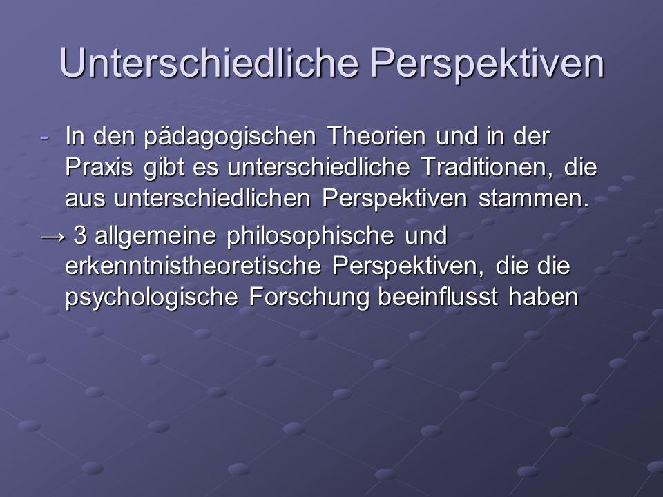 Unterschiedliche Sichtweisen Empirismus: - betont den Zusammenhang von Wissen mit Erfahrung - Erkenntnis aus Sinneserfahrungen - Locke, Thorndike Assoziationismus (Locke, Hume) Assoziationismus (Locke, Hume) Konnektivismus (Rumelhart, McClelland) Konnektivismus (Rumelhart, McClelland)