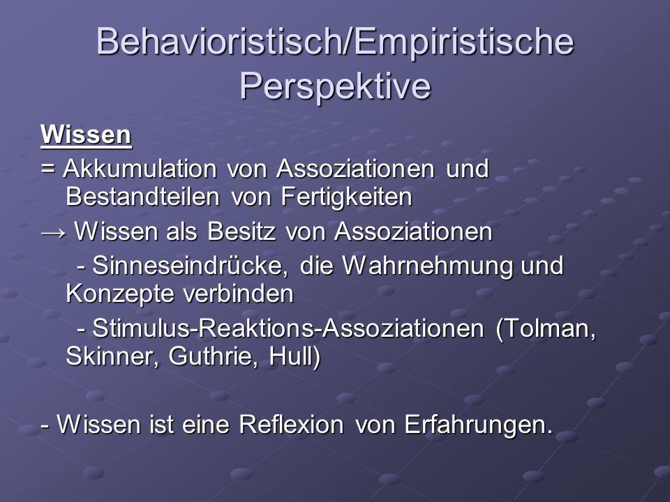 Behavioristisch/Empiristische Perspektive Lernen = Prozess, in dem Assoziationen und Fertigkeiten erworben werden Bildung, Vergrößerung und Anpassung der Assoziationen Bildung, Vergrößerung und Anpassung der Assoziationen -Erforschte Prozesse: Konditionierung von Reflexen (Klassische Konditionierung) Konditionierung von Reflexen (Klassische Konditionierung) Verstärkung von Stimulus-Reaktions-Assoziationen (Operante Konditionierung) Verstärkung von Stimulus-Reaktions-Assoziationen (Operante Konditionierung) Bildung von Assoziationen zwischen verbalen Einheiten, z.B.