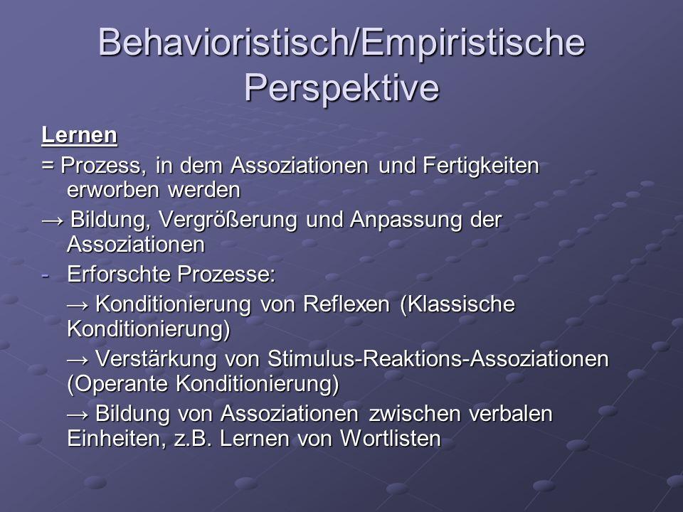 Behavioristisch/Empiristische Perspektive Lernen = Prozess, in dem Assoziationen und Fertigkeiten erworben werden Bildung, Vergrößerung und Anpassung