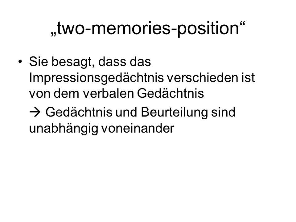 incongruity-biased encoding theory Geht davon aus, dass zwischen Erinnerung und Bewertung eine negative Korrelation besteht mit anderen Worten, wird die Beurteilung während der Enkodierung gemacht.