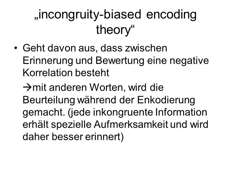biased-encoding model Die Beurteilung, die während der Enkodierung gemacht wird filtert die folgenden Informationen hier besteht also ein positiver Zusammenhang zwischen Bewertung und Gedächtnis (letzteres hängt von der Bewertung ab!)