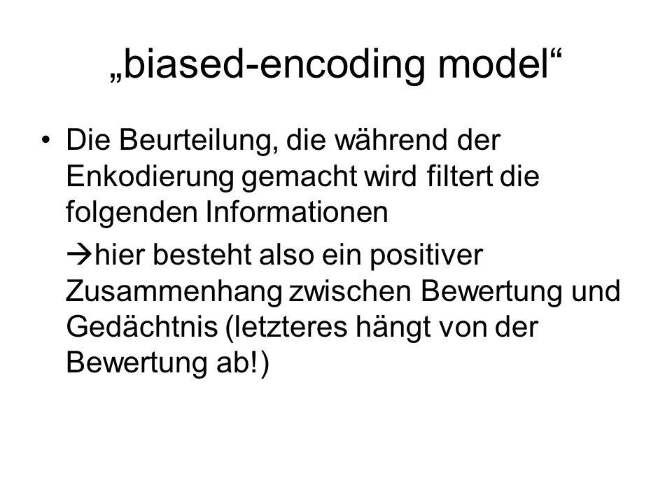biased-retrieval model Laut diesem Modell bestimmt die Beurteilung eine voreingenommene Suche nach erhaltenen, gesammelten Informationen positiver Zusammenhang