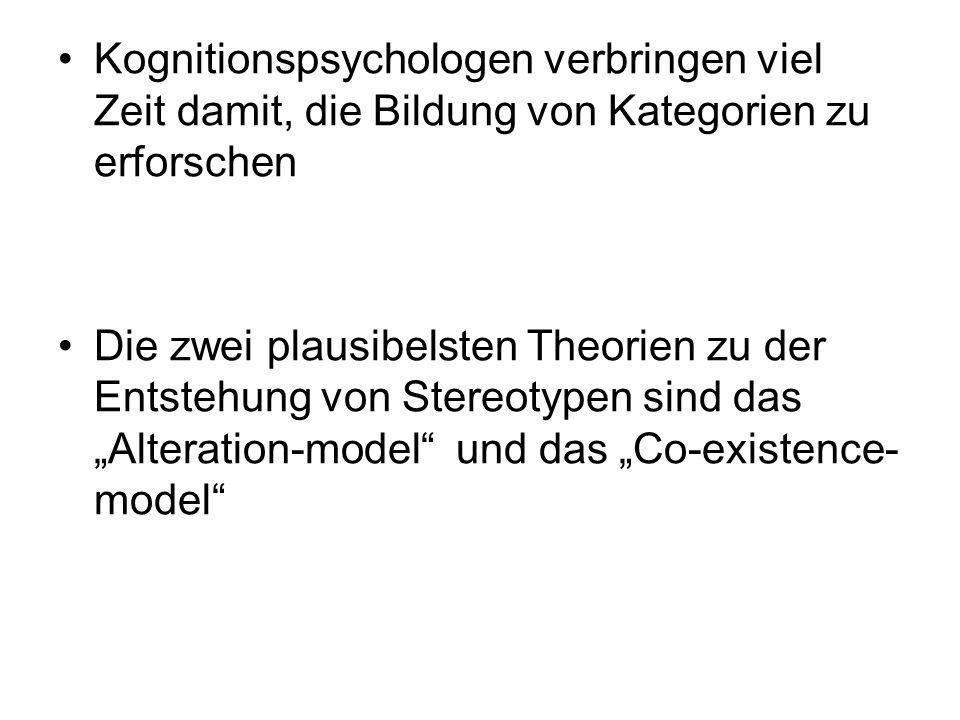 Alterationsmodell (Änderungsmodell): Diese Theorie besagt, dass Menschen Informationen, die sie über eine Gruppe erhalten, ständig in ihr bestehendes Bild integrieren und somit ihr abstraktes Bild eines Prototypen konstant neu formen.