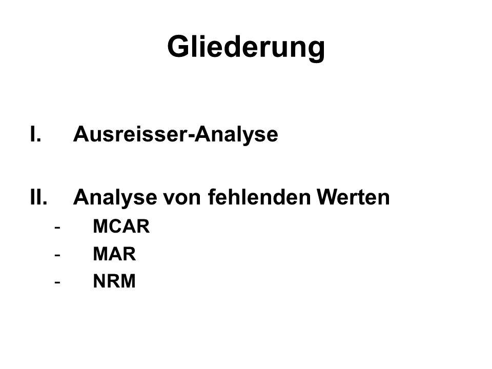 Ausreisseranalyse oAusreisser- und Extremwerte nach Tukey- Kriterium identifizieren Grafisches Ergebnis: Boxplot oErsetzungsmöglichkeit Windsorisieren oProblem: Werte können sowohl durch Fehler/bewusst falsche Angaben sein, als auch real bestehen.