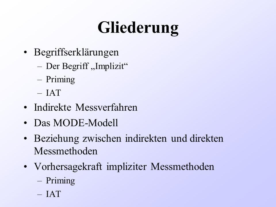 Gliederung Begriffserklärungen –Der Begriff Implizit –Priming –IAT Indirekte Messverfahren Das MODE-Modell Beziehung zwischen indirekten und direkten