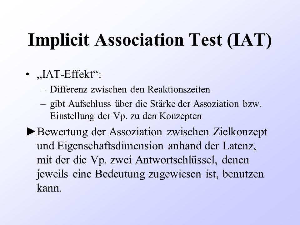 Implicit Association Test (IAT) IAT-Effekt: –Differenz zwischen den Reaktionszeiten –gibt Aufschluss über die Stärke der Assoziation bzw. Einstellung