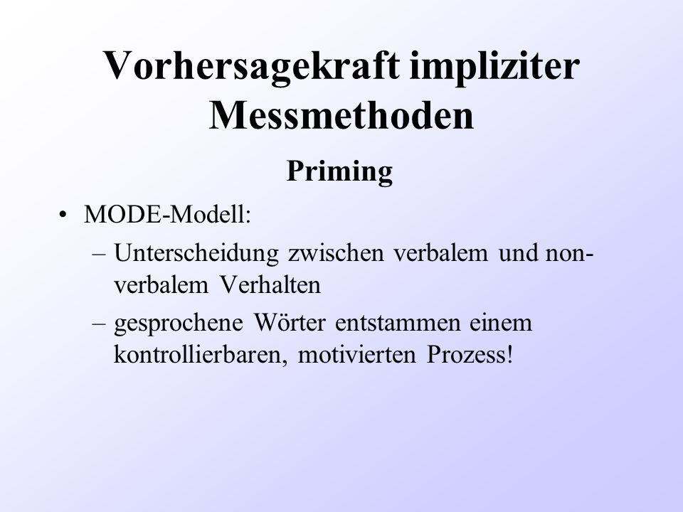 Vorhersagekraft impliziter Messmethoden MODE-Modell: –Unterscheidung zwischen verbalem und non- verbalem Verhalten –gesprochene Wörter entstammen eine