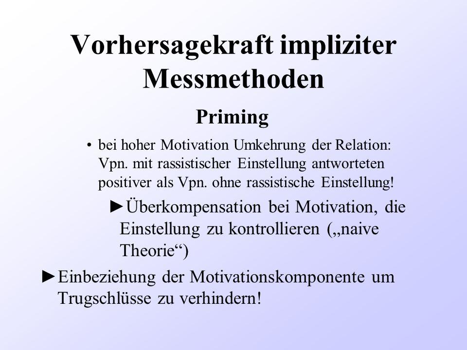 Vorhersagekraft impliziter Messmethoden bei hoher Motivation Umkehrung der Relation: Vpn. mit rassistischer Einstellung antworteten positiver als Vpn.