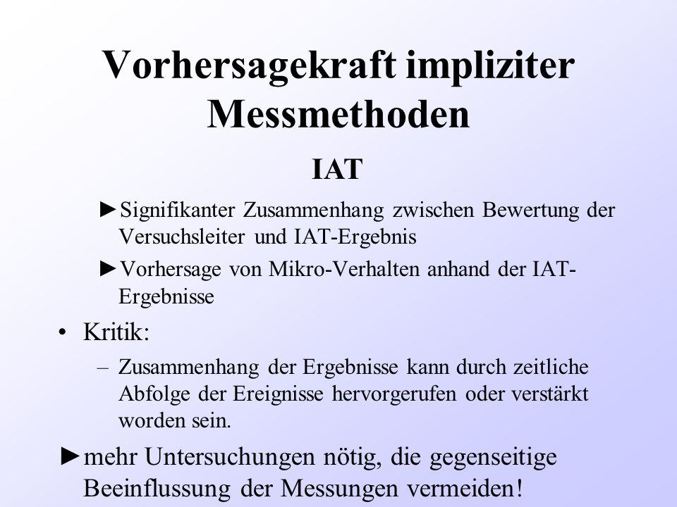 Vorhersagekraft impliziter Messmethoden Signifikanter Zusammenhang zwischen Bewertung der Versuchsleiter und IAT-Ergebnis Vorhersage von Mikro-Verhalt