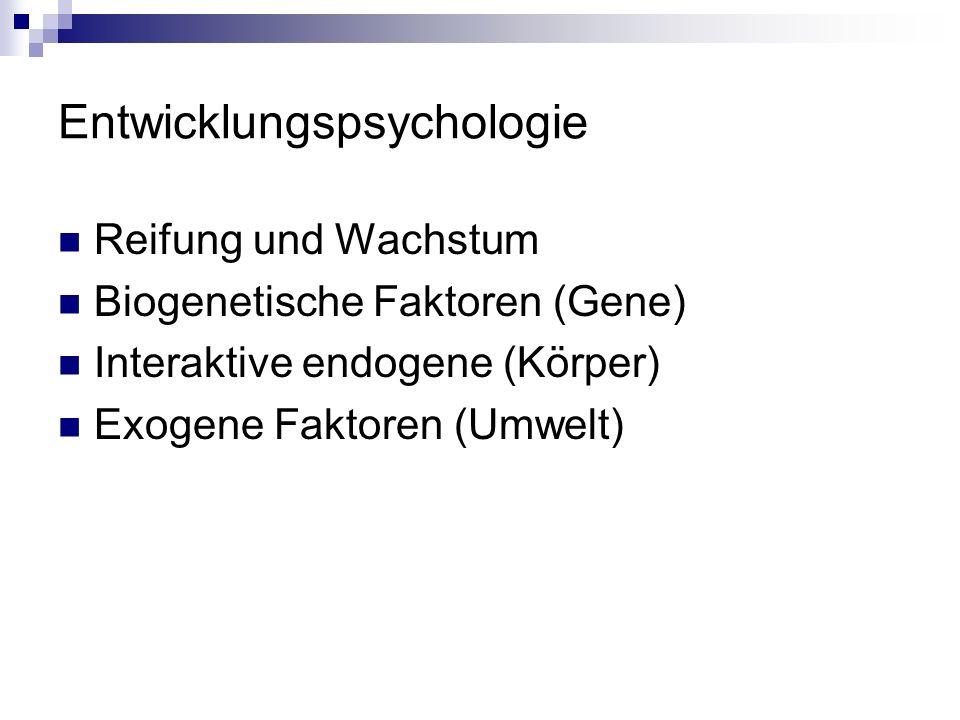 Entwicklungspsychologie Reifung und Wachstum Biogenetische Faktoren (Gene) Interaktive endogene (Körper) Exogene Faktoren (Umwelt)