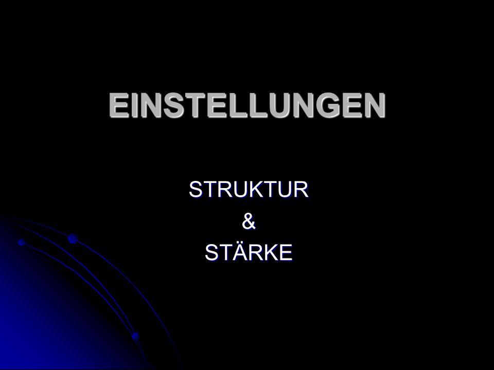 EINSTELLUNGEN STRUKTUR&STÄRKE