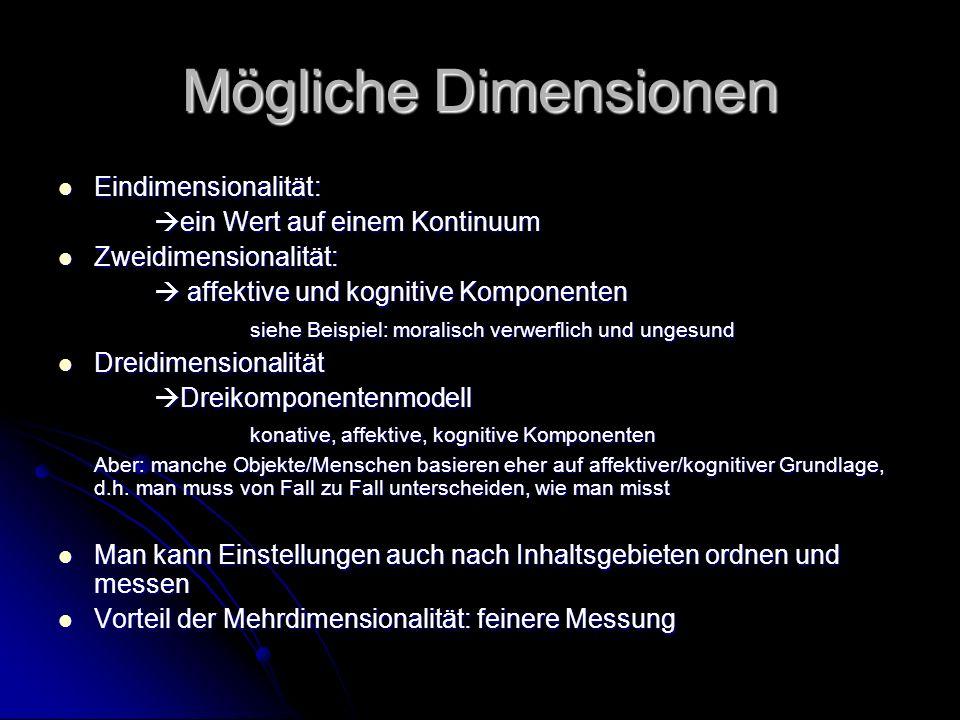Mögliche Dimensionen Eindimensionalität: Eindimensionalität: ein Wert auf einem Kontinuum ein Wert auf einem Kontinuum Zweidimensionalität: Zweidimens