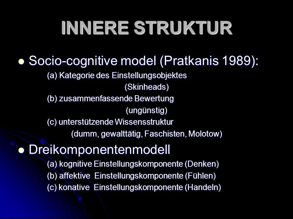 INNERE STRUKTUR Socio-cognitive model (Pratkanis 1989): Socio-cognitive model (Pratkanis 1989): (a) Kategorie des Einstellungsobjektes (Skinheads) (b)