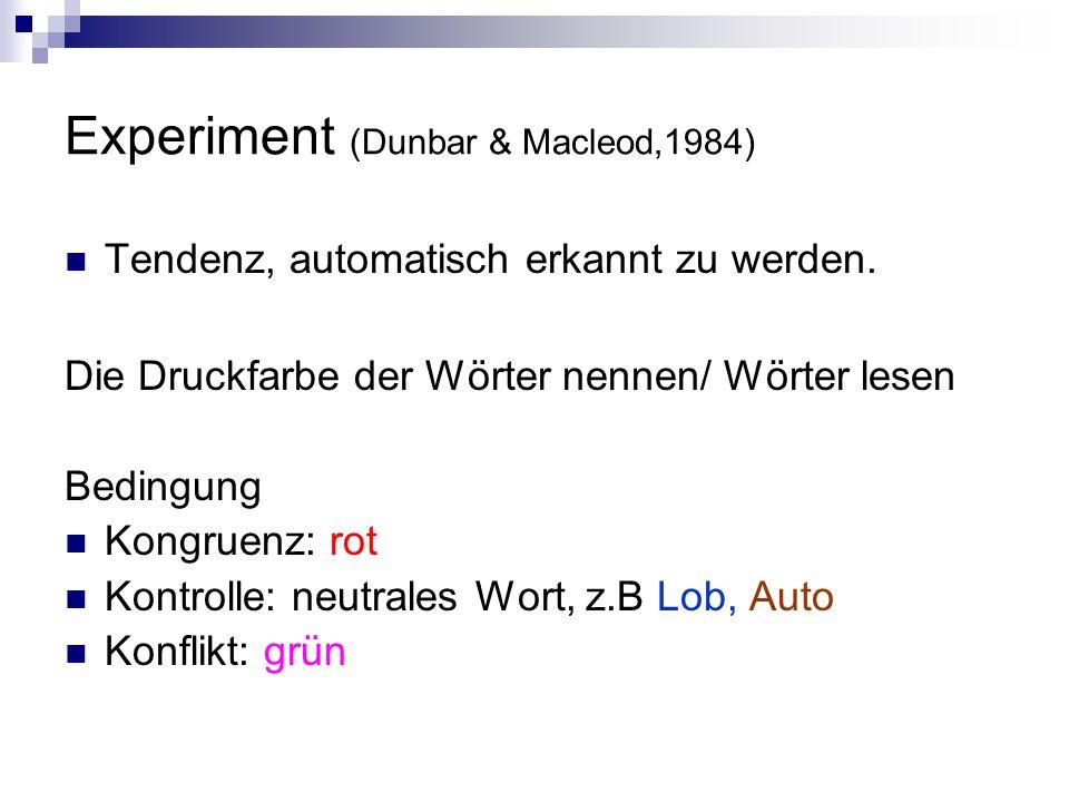 Experiment (Dunbar & Macleod,1984) Tendenz, automatisch erkannt zu werden. Die Druckfarbe der Wörter nennen/ Wörter lesen Bedingung Kongruenz: rot Kon