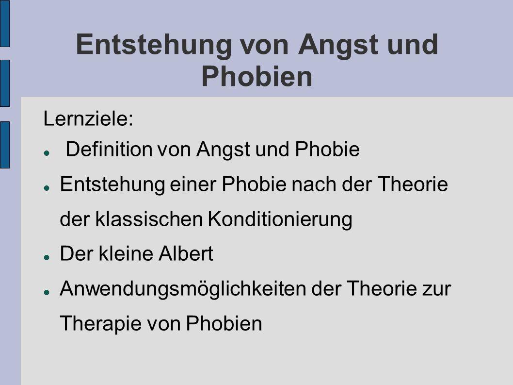 Entstehung von Angst und Phobien Lernziele: Definition von Angst und Phobie Entstehung einer Phobie nach der Theorie der klassischen Konditionierung D