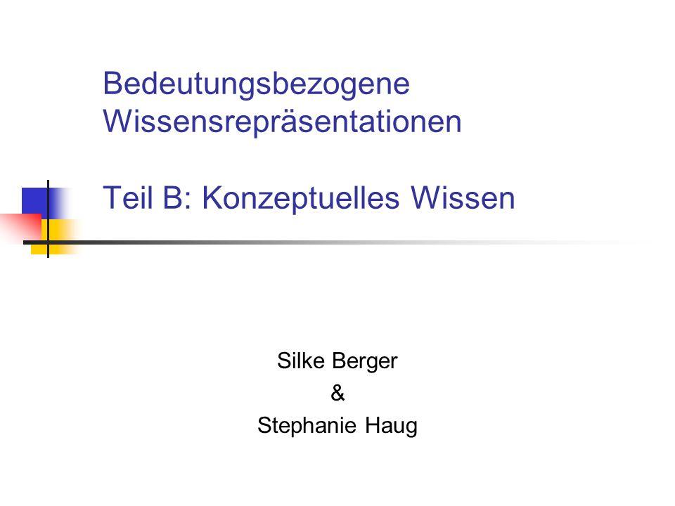 Bedeutungsbezogene Wissensrepräsentationen Teil B: Konzeptuelles Wissen Silke Berger & Stephanie Haug