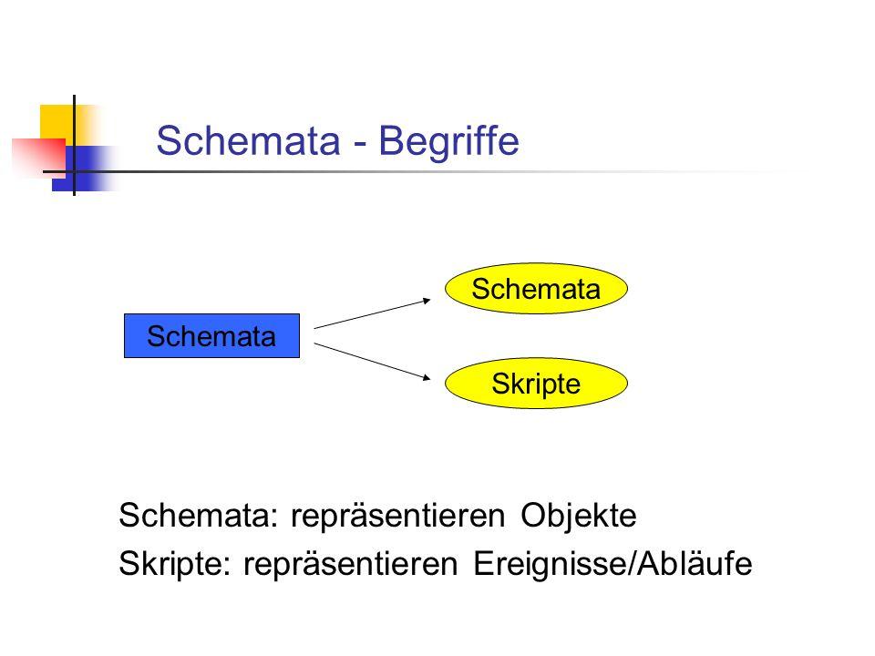 Schemata - Begriffe Schemata: repräsentieren Objekte Skripte: repräsentieren Ereignisse/Abläufe Schemata Skripte