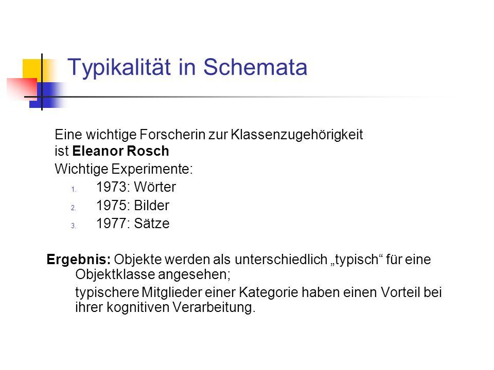 Typikalität in Schemata Eine wichtige Forscherin zur Klassenzugehörigkeit ist Eleanor Rosch Wichtige Experimente: 1.
