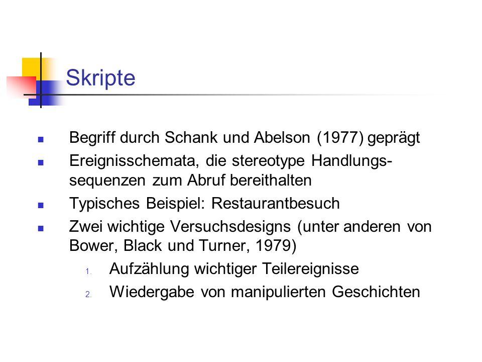 Skripte Begriff durch Schank und Abelson (1977) geprägt Ereignisschemata, die stereotype Handlungs- sequenzen zum Abruf bereithalten Typisches Beispiel: Restaurantbesuch Zwei wichtige Versuchsdesigns (unter anderen von Bower, Black und Turner, 1979) 1.