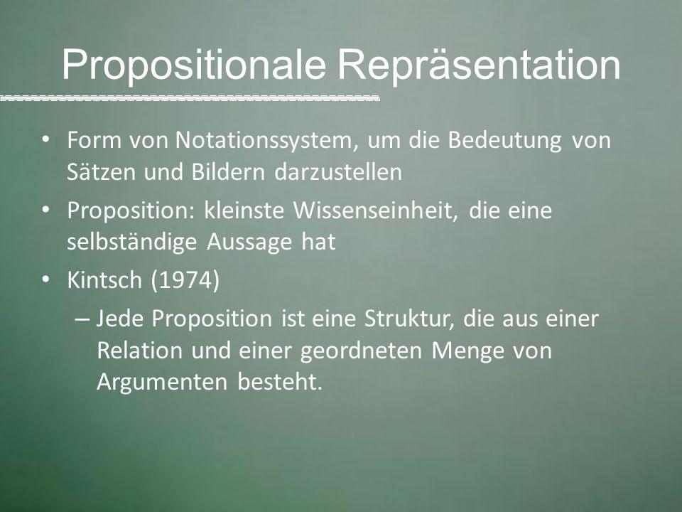 Propositionale Repräsentation Form von Notationssystem, um die Bedeutung von Sätzen und Bildern darzustellen Proposition: kleinste Wissenseinheit, die