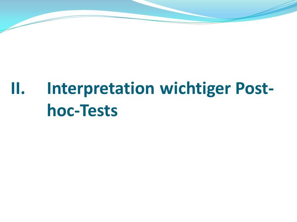 II.Interpretation wichtiger Post- hoc-Tests