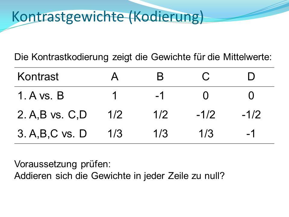 Kontrastgewichte (Kodierung) KontrastABCD 1. A vs. B100 2. A,B vs. C,D1/2 -1/2 3. A,B,C vs. D1/3 Die Kontrastkodierung zeigt die Gewichte für die Mitt