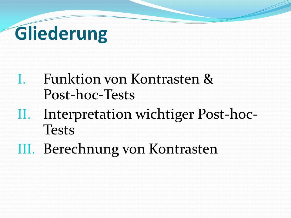 Gliederung I. Funktion von Kontrasten & Post-hoc-Tests II. Interpretation wichtiger Post-hoc- Tests III. Berechnung von Kontrasten