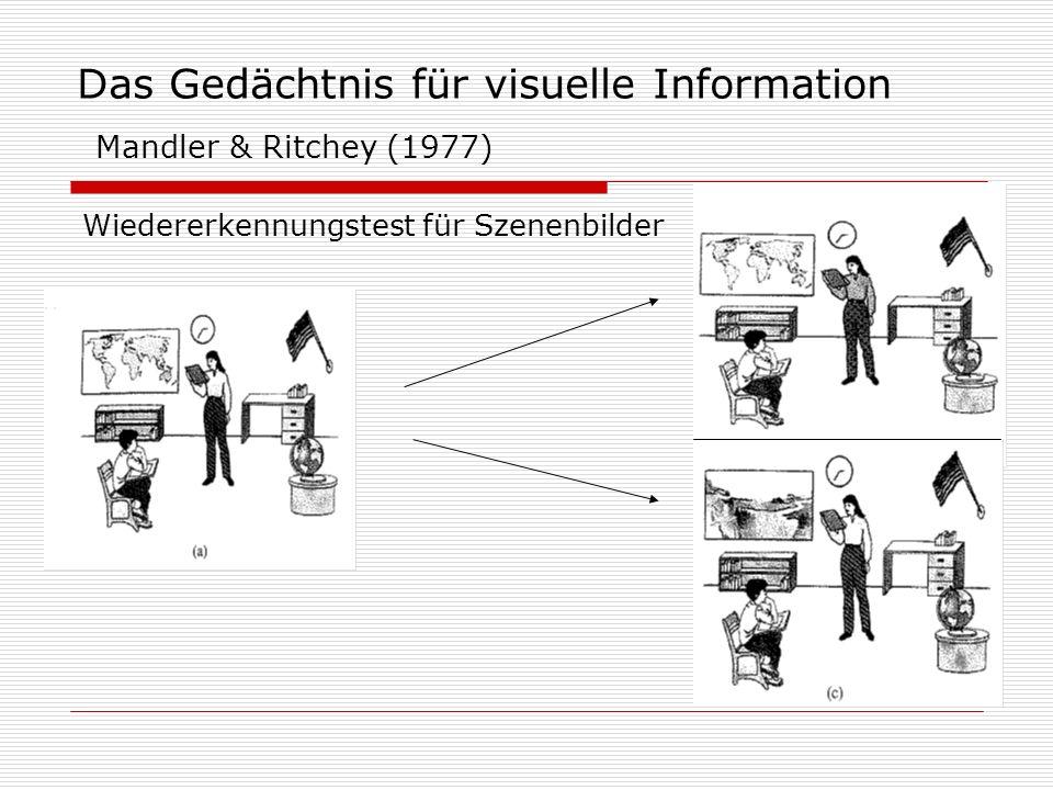 Das Gedächtnis für visuelle Information Mandler & Ritchey (1977) Wiedererkennungstest für Szenenbilder