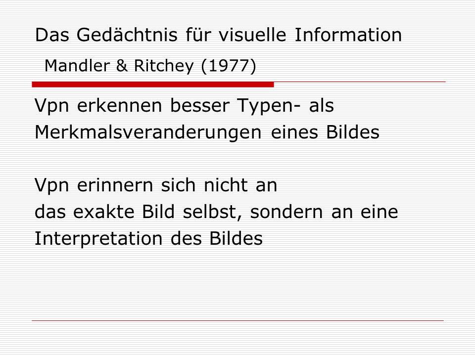 Das Gedächtnis für visuelle Information Mandler & Ritchey (1977) Vpn erkennen besser Typen- als Merkmalsveranderungen eines Bildes Vpn erinnern sich nicht an das exakte Bild selbst, sondern an eine Interpretation des Bildes