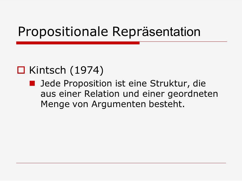 Propositionale Repr äsentation Kintsch (1974) Jede Proposition ist eine Struktur, die aus einer Relation und einer geordneten Menge von Argumenten besteht.