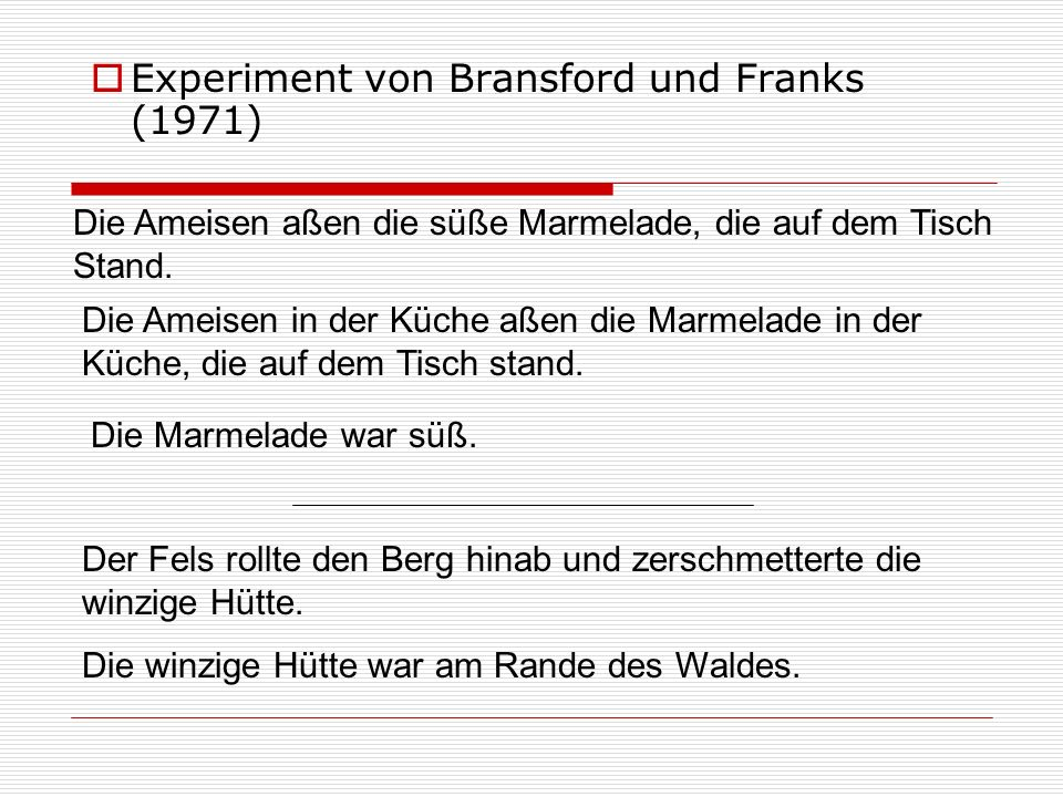 Experiment von Bransford und Franks (1971) Die Ameisen aßen die süße Marmelade, die auf dem Tisch Stand. Der Fels rollte den Berg hinab und zerschmett