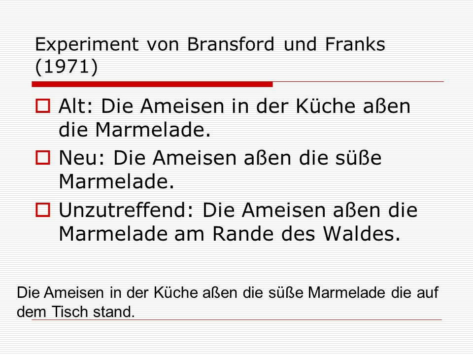 Experiment von Bransford und Franks (1971) Alt: Die Ameisen in der Küche aßen die Marmelade. Neu: Die Ameisen aßen die süße Marmelade. Unzutreffend: D
