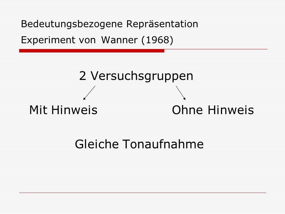 Bedeutungsbezogene Repräsentation Experiment von Wanner (1968) 2 Versuchsgruppen Mit Hinweis Ohne Hinweis Gleiche Tonaufnahme