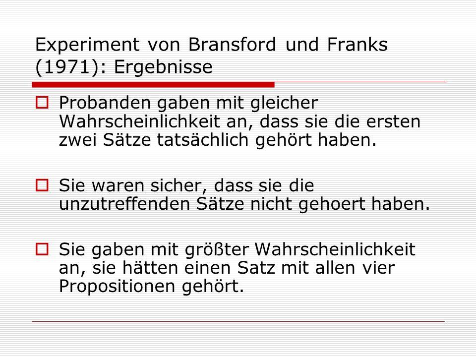 Experiment von Bransford und Franks (1971): Ergebnisse Probanden gaben mit gleicher Wahrscheinlichkeit an, dass sie die ersten zwei Sätze tatsächlich gehört haben.