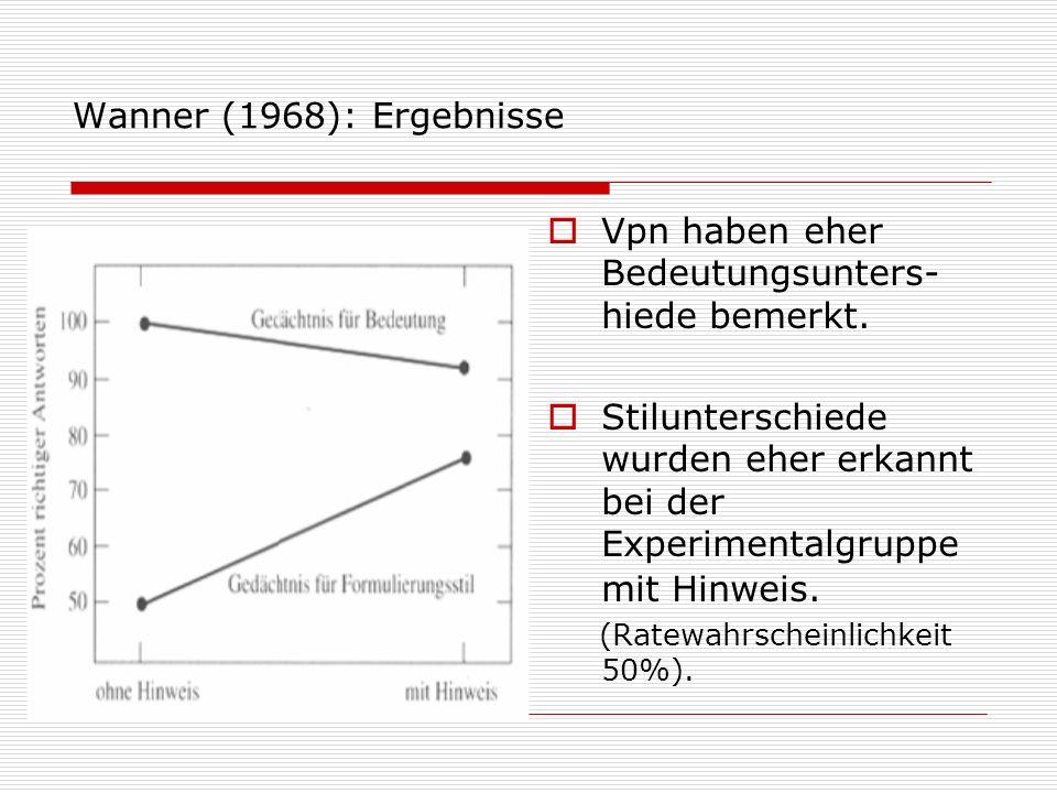 Wanner (1968): Ergebnisse Vpn haben eher Bedeutungsunters- hiede bemerkt. Stilunterschiede wurden eher erkannt bei der Experimentalgruppe mit Hinweis.