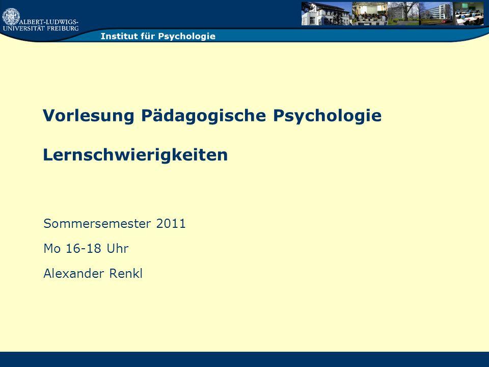 Vorlesung Pädagogische Psychologie - Renkl 22 Dyskalkulie / Rechenschwäche Weit weniger beachtet und beforscht als Legasthenie ICD und DSM: Diskrepanzdefinition !.