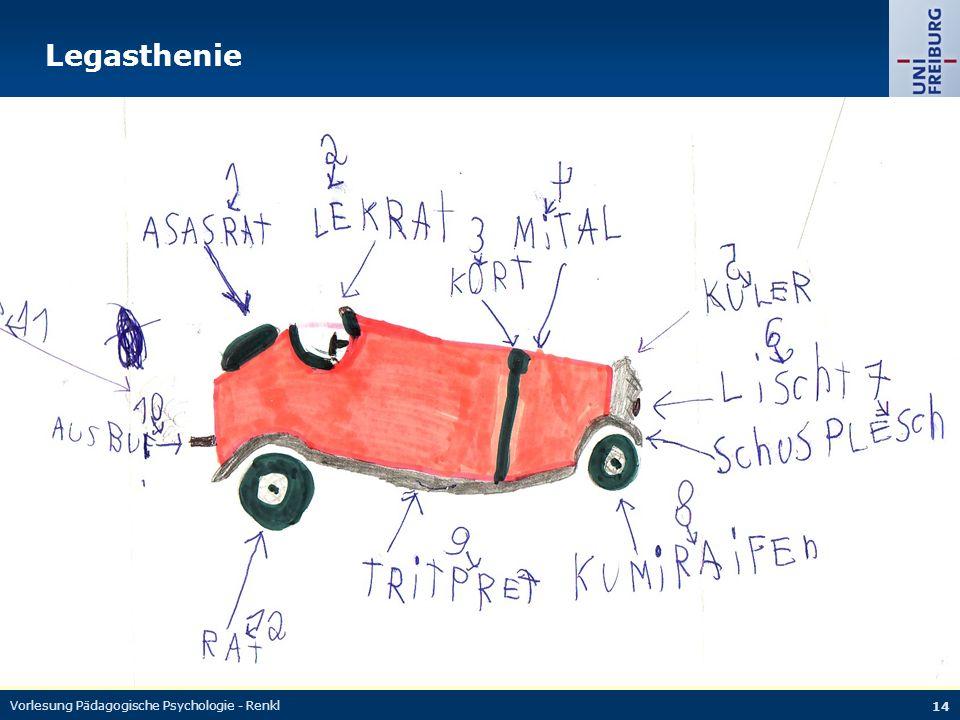 Vorlesung Pädagogische Psychologie - Renkl 14 Legasthenie