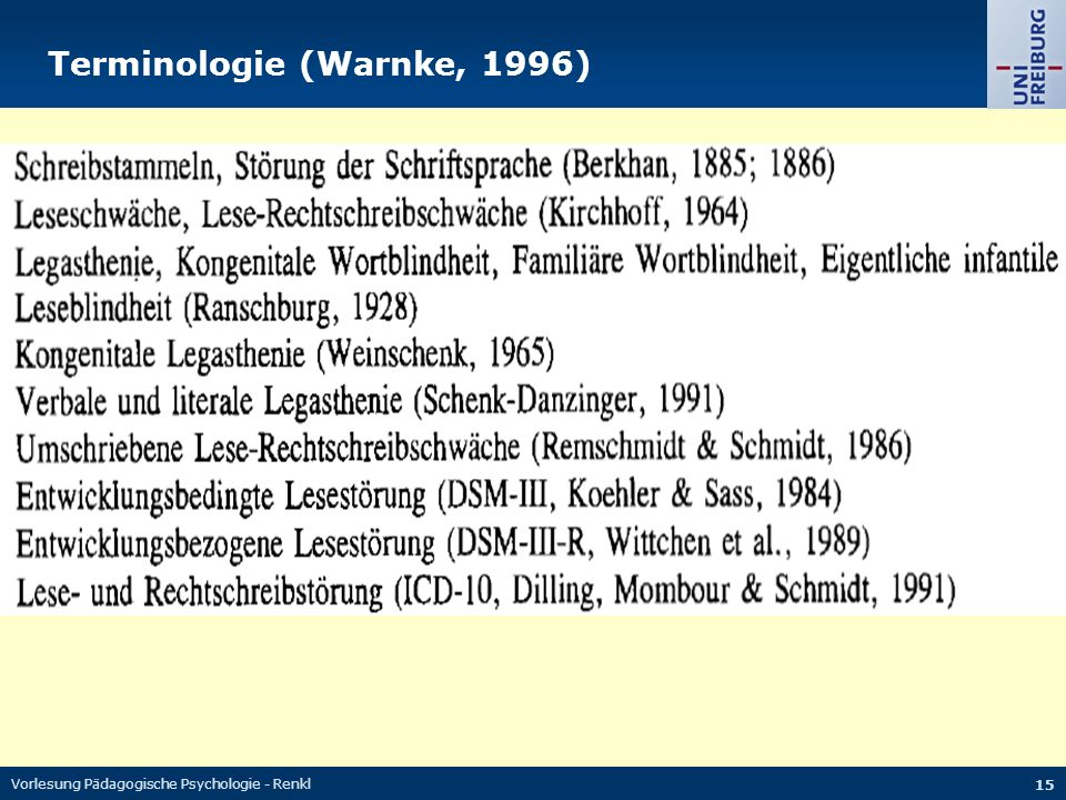 Vorlesung Pädagogische Psychologie - Renkl 15 Terminologie (Warnke, 1996)