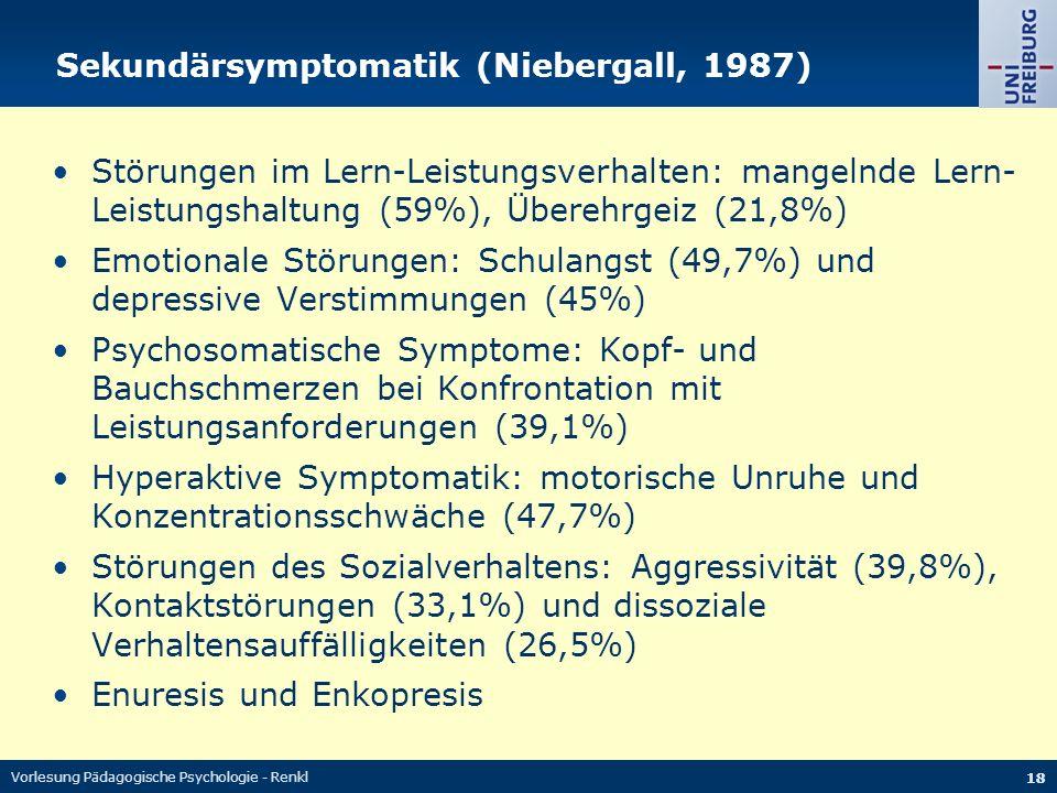 Vorlesung Pädagogische Psychologie - Renkl 18 Sekundärsymptomatik (Niebergall, 1987) Störungen im Lern-Leistungsverhalten: mangelnde Lern- Leistungsha